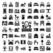 Big furniture icons set — Wektor stockowy