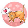 Сute valentine cat — Stockfoto
