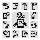 Phone icons set — Stock Vector