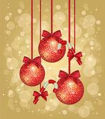 ゴールドのクリスマスのグリーティング カード — ストックベクタ