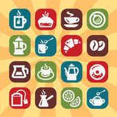 ícones de cor de café e chá — Vetor de Stock