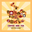 Colorful coffee and tea icons — Stock Photo