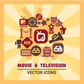 Colorful cinema icons — Stock Photo