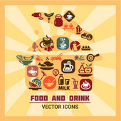 Colorful food and drink icons — Stockfoto