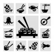 Seafood icons — Stock Photo