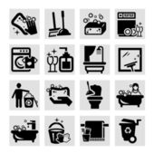 Cleaning black icons — Stock Photo