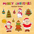 Vector christmas icons — Stockfoto