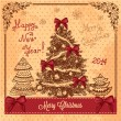 Vintage card with christmas tree — Foto de Stock