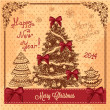 Vintage card with christmas tree — 图库照片 #36471293