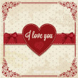 Retro card with heart — Foto de Stock