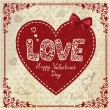 Vintage card with heart — Stockfoto