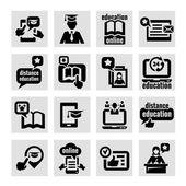 онлайн образования концепция иконы set — Cтоковый вектор