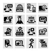 он-лайн образование иконки — Cтоковый вектор