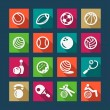 Flat sports and fitnes icons set — Stock Vector