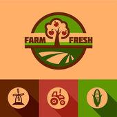 Flat farm emblems — Vector de stock