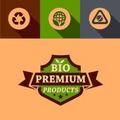 Flat bio premium design elements — Stok Vektör