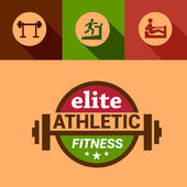 Flat elite fitness design elements — Stock Vector
