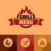 Flat grill menu design elements — Stock Vector