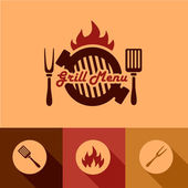 Grill menu design elements — Stock Vector