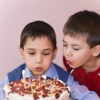 Boy blowing out candles on a chocolate birthday cake — 图库照片