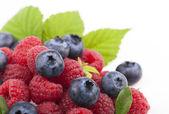 Many blueberries & raspberries. — ストック写真
