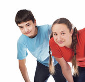 Girl and the boy teenagers — Stock Photo