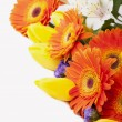 Beautiful bouquet of colorful spring flowers. tulip, ranunculus, - Stock Photo