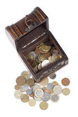 Wooden casket full of coins thai — Stock Photo