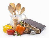 Recipe-book and rolling pin — Stock Photo