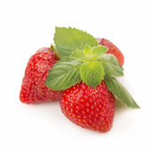 Fresh strawberry, mint sheets — Stockfoto
