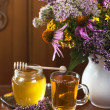 Still life from medicinal herbs, honey, herbal tea — Stock Photo