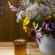 Still life from medicinal herbs, herbal tea — Stock Photo