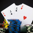 Frame made of playing cards and poker chips — Stock Photo #33153319