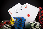 Frame made of playing cards and poker chips — Stock Photo