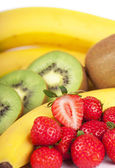 Bananas, kiwi and strawberry — Stock Photo