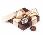 Brown box with candies — Stock Photo