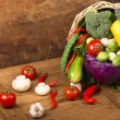 Healthy Organic Vegetables on a Wooden Background — Stock Photo