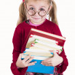 Little girl holds books — Stock Photo