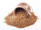 Raw buckwheat in bowl — Stockfoto