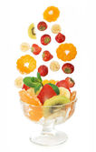 Glass bowl with fresh fruits salad — Stock Photo