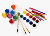 Pencils colour and gouache of paint — ストック写真