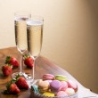 Wine or champagne with macaroons — Stock Photo #45589185