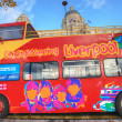 Sightseeing bus in Liverpool. - Stock Photo