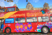 Sightseeing bus in Liverpool. — Stock Photo