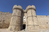 Marine Gate (also Sea Gate) at the old city of Rhodes, Greece. — Stock Photo