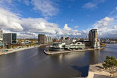 Manchester cityscape at the Salford Quays. — Stock Photo