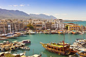 Busy life of an historic harbour in Kyrenia, Cyprus. — Stock Photo