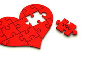 3d heart puzzle on white — Stock Photo