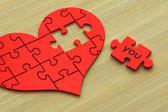 3d puzzle srdce na dřevo — Stock fotografie