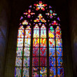 Gothic stained glass window in Prague (czech republic) — Stockfoto #12380489